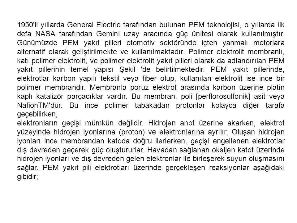 1950 li yıllarda General Electric tarafından bulunan PEM teknolojisi, o yıllarda ilk defa NASA tarafından Gemini uzay aracında güç ünitesi olarak kullanılmıştır. Günümüzde PEM yakıt pilleri otomotiv sektöründe içten yanmalı motorlara alternatif olarak geliştirilmekte ve kullanılmaktadır. Polimer elektrolit membranlı, katı polimer elektrolit, ve polimer elektrolit yakıt pilleri olarak da adlandırılan PEM yakıt pillerinin temel yapısı Şekil de belirtilmektedir. PEM yakıt pillerinde, elektrotlar karbon yapılı tekstil veya fiber olup, kullanılan elektrolit ise ince bir polimer membrandir. Membranla poruz elektrot arasında karbon üzerine platin kaplı katalizör parçacıklar vardır. Bu membran, poli [perflorosulfonik] asit veya NafionTM dur. Bu ince polimer tabakadan protonlar kolayca diğer tarafa geçebilirken,